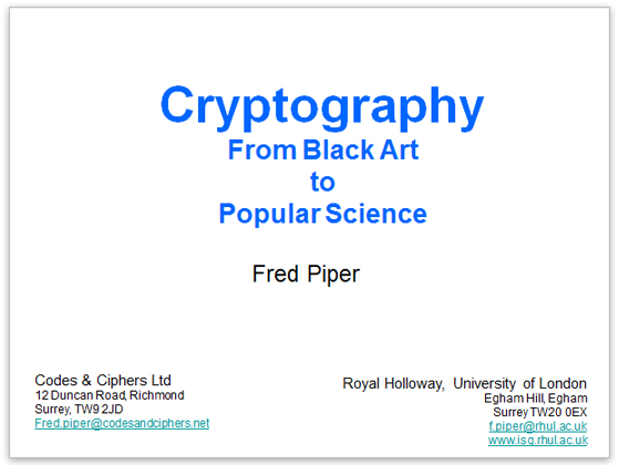 Cryptography From Black Art to Popular Science